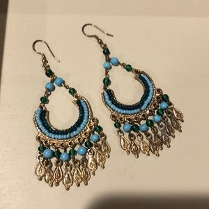 Gorgeous blue and green beaded earrings